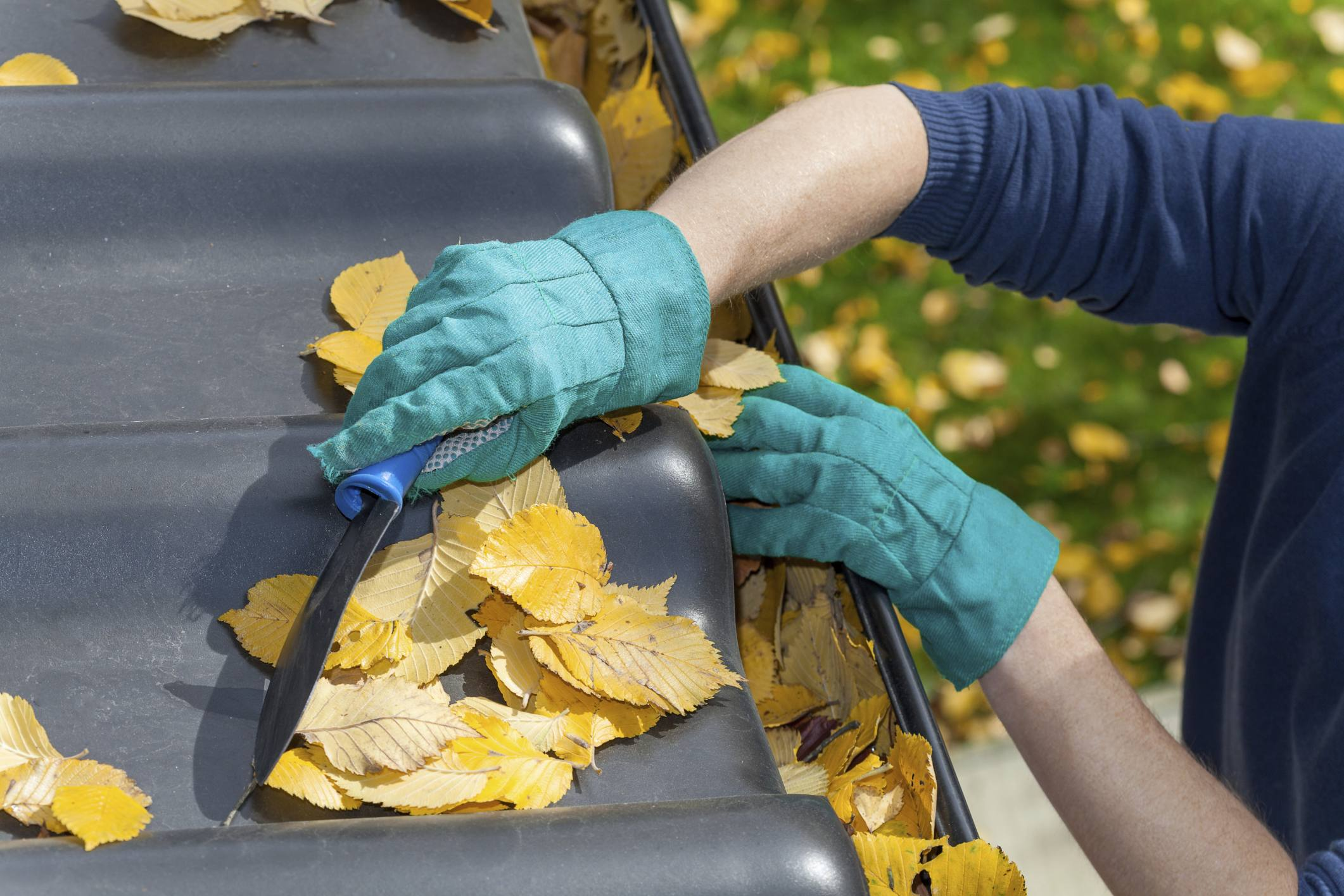 cleaning leaves out of clogged gutters to avoid seepage and flooding
