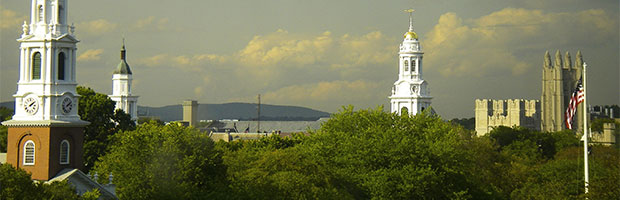 skyline of buildings in New Haven Connecticut