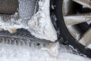 Snow covered tire